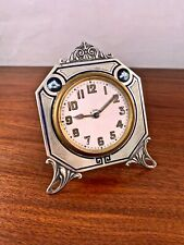 RARE ARGENT DORE STERLING SILVER & ENAMEL SWISS 8 DAY DESK CLOCK: ART DECO