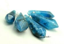 BLUE ROCK CRYSTAL  GEMSTONE  GRADUATED SET POINT 64X18-28X9MM LOOSE BEADS 5 BEAD