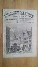 1872 Illustrazione Popolare: Veduta Copenaghen Mercato d'Amac e la casa Divecke
