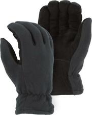 Heat-Lock Insulated-Deer Suede Leather Gloves-Black-GRAY-Men's Small-Size 8