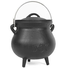 cast iron cauldron with triple moon design 19cm tall wiccan,pagan,witch CO_29702