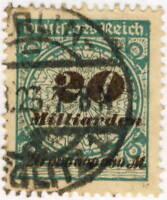 ALLEMAGNE / GERMANY / DEUTSCHLAND - 1923 Mi.329AP 20 Mrd Used BERLIN-STEGLITZ 1