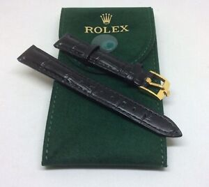 14mm Black Leather Rolex Band with 12mm Gold Plated Rolex Buckle & HQ Pouch