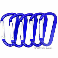 "NEW 50 BLUE CARABINER SPRING CLIP KEY CHAIN 2.25"" ANODIZED ALUMINUM HOOK D-RING"