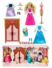 "Disney Store Sleeping Beauty Mini Doll Aurora 5""  Wardrobe Play Set Dresser NEW"