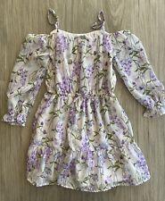 Childrens Place Girls Dress Size 5/6 White Purple Floral Off Shoulder Euc