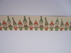 CHRISTMAS TAPE!! Natural in colour with ELVES *NEW*   1.5cm & 5mtr