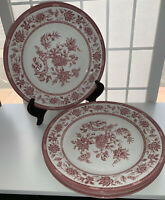 "VTG Lot Of 3 Churchill Red  Floral 10.25"" Dinner Plates, Cream Field, Excellent!"