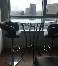 Pre-owned TEMPO GLASS table + 2 Chairs Set Black Man Made Material