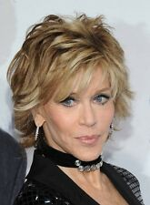 Hot Jane Fonda Short Straight Layered Synthetic Hair Capless Wig 8 In