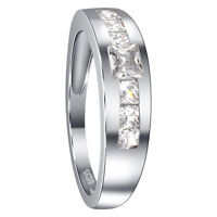 Men's Rhodium Plated 925 Sterling Silver CZ Cubic Zirconia Ring Size 9 - 13