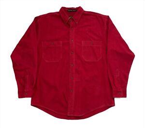 Vintage Eddie Bauer Chamois Flannel Twin Chest Pocket Shirt - Red Medium