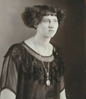 Vintage large photo woman with gold locket unusual hair style black lace dress