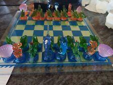 5th Avenue Ltd  Crystal Chess Checker Set Tropics 59 Piece Set Hand Made Pieces