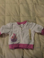 NEW BABY GAP WHITE PINK SAILBOAT ZIPPER FRONT JACKET TOP SIZE UP TO 3 MONTHS!