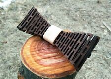 Wooden 3D Bow Tie - Leather Gift For Men Wedding Wood Bowtie Groomsmen Accessory