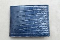 Blue Genuine Crocodile ,Alligator Belly Leather Skin MEN'S BIFOLD Wallet