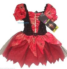 HALLOWEEN Witch Red Spider cobweb Tutu Dress Fancy Costume Party New Horror 7-8