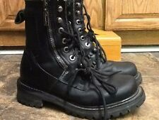 MILWAUKEE WOMEN'S BLACK LEATHER LACE/ZIP MOTORCYCLE BOOTS SHOES SIZE 7.5M