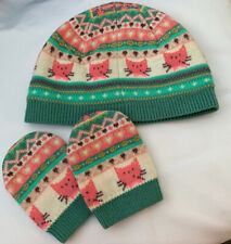 Baby Girl 12-18 Months Pink Green Cat Hat Mitts Set NEXT Lined