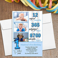 10 Personalised Boys Blue 1st First Birthday Party PHOTO Invitations N38