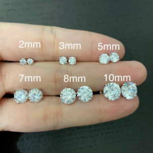 0.5ct-3ct ROUND CUT LAB DIAMOND ICED EARRINGS 14K WHITE GOLD STUDS SCREW-BACK