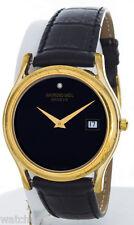 Raymond Weil Men's Gold-tone Case Black Dial Alligator Leather Band Quartz Watch