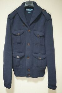 $395 | POLO RALPH LAUREN CHUNKY SHAWL CARDIGAN WOOL NAVY BLUE EPAULETS XL