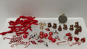 Vintage Christmas Tree Ornaments Bows Bears Candles Dollhouse Miniature 1:12