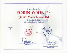 1992 BREWERS Robin Yount 3000 Hits I was there Certificate original Milwaukee