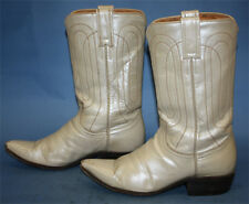 Womens Vtg Justin Metallic Ivory Leather Rockabilly/Flat Top Cowgirl Boots - 7 B
