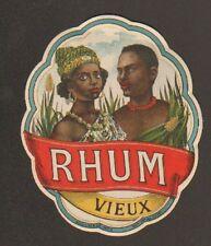 ETIQUETTE de RHUM / RHUM VIEUX / Portrait FEMME & HOMME ANTILLAIS & PAYSAGE