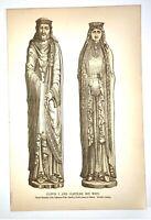 Antique Print-CLOVIS I-CLOTILDE-FRANKISH KING-STATUE-CORBEIL-FRANCE-Lacroix-1874