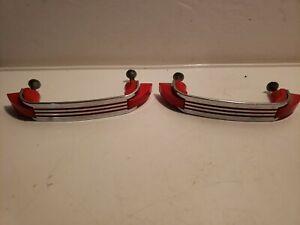 "Pair Vintage 1950s Chromed Steel w 3 Inset Red Lines Drawer Pulls - 3-1/2"" -  FK"