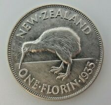 1935 New Zealand One Florin Silver Coin M3486