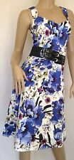 Kaleidoscope Blue Floral Dress With Broad Black Belt Size 20 Ref 4
