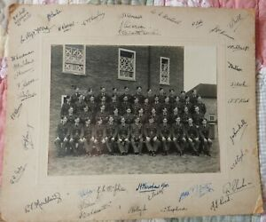 R.A.F WW2 PHOTO ON THICK BOARD - OFFICER AND NEW RECRUITS ??