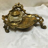1983 French Rococo Desk Inkwell Ornate Brass Holder - Glass Lidded Ink Well