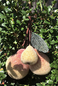 Martha Stewart Beaded Glitter Pears Christmas Ornaments