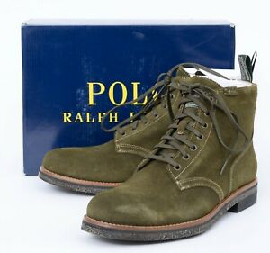 New POLO RALPH LAUREN RL Army Hunt Green Snuff Roughout Leather Suede Boots 8.5