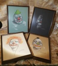 "VINTAGE 1974 JOSE ANCONA FERNANDEZ 4 CLOWN PASTELS 12""x16"" FRAMED/GLASS"