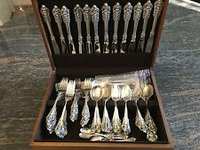 Wallace - Grand Baroque Sterling Silver Flatware Set for (12), Forks, Spoons,.