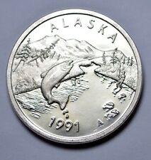 1991 Alaska Sports Fishing Medallion 1 oz. .999 Silver Proof Round, Alaska Mint