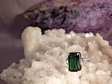 Ladies 5.29 Ct. Emerald Cut Faceted Tourmaline Ring Sterling Silver