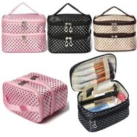 Double Layer Travel Cosmetic Bags Makeup Case Toiletry Organizer Storage Women