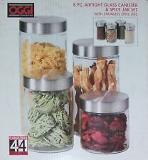 NEW Oggi Glass Canisters & Spice Jars 8 Piece Set - Clear B1335