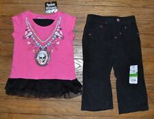 Size 6 to 12 Months Girly Skull Ruffle Top & 12 Month Corduroy Pants