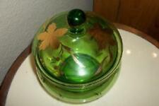 Vintage Czech Bohemian Art Glass Emerald Gilt Candy Dish Lid Mid Century HP