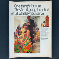 """1968 SEAGRAM'S 7 CROWN Whiskey Liquor 60s Dinner Party Vintage Print Ad 13.5"""""""
