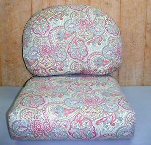 Outdoor Deep Seat Cushion Set ~ Pink & Blue Paisley ~ 26x18.5x7.5 / 23x25x6 NEW